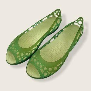 🍋 Crocs Adrina Green Jelly Peep Toe Shoes Sandals